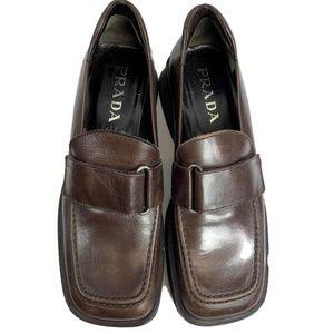 Authentic Prada Vintage Leather Platform Loafer